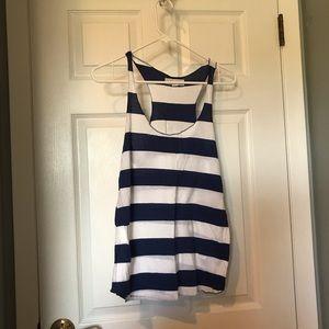 Forever21 navy blue & white stripe pattern tanktop